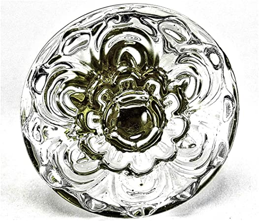 17886 2 geputzte Dresdner Blume Fenstergriff Messing window handle 1900 brass