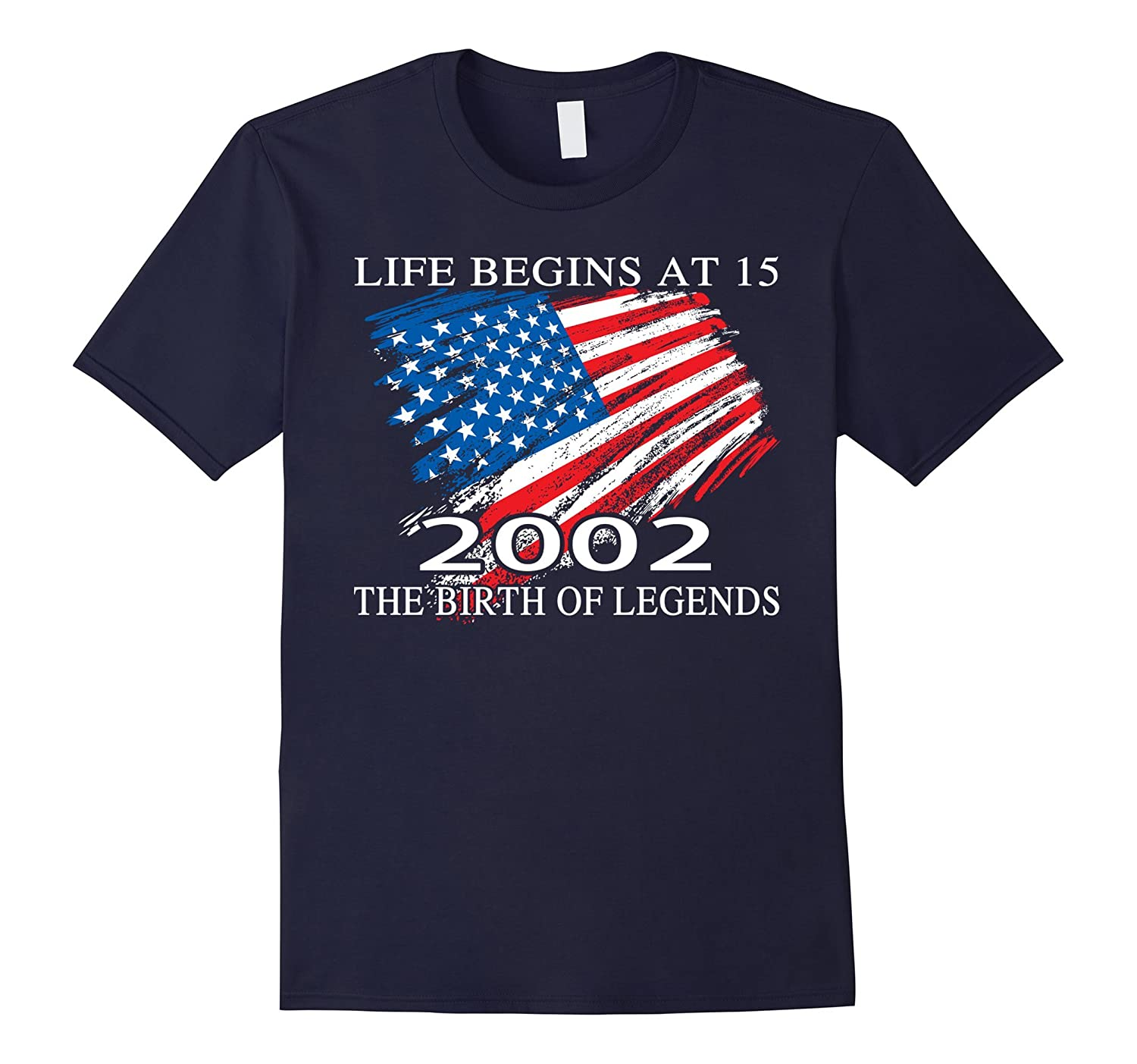 Birthday Gift For 15 Years Old 2002 T Shirt American Flag-Vaci