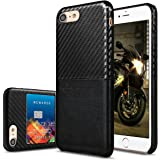 iPhone 7 Case, Premium PU Leather Case with Credit Card Slot Holder, VIFLYKOO Pretty Texture Ultra Slim Lightweight Soft Back Cover Case (Black)
