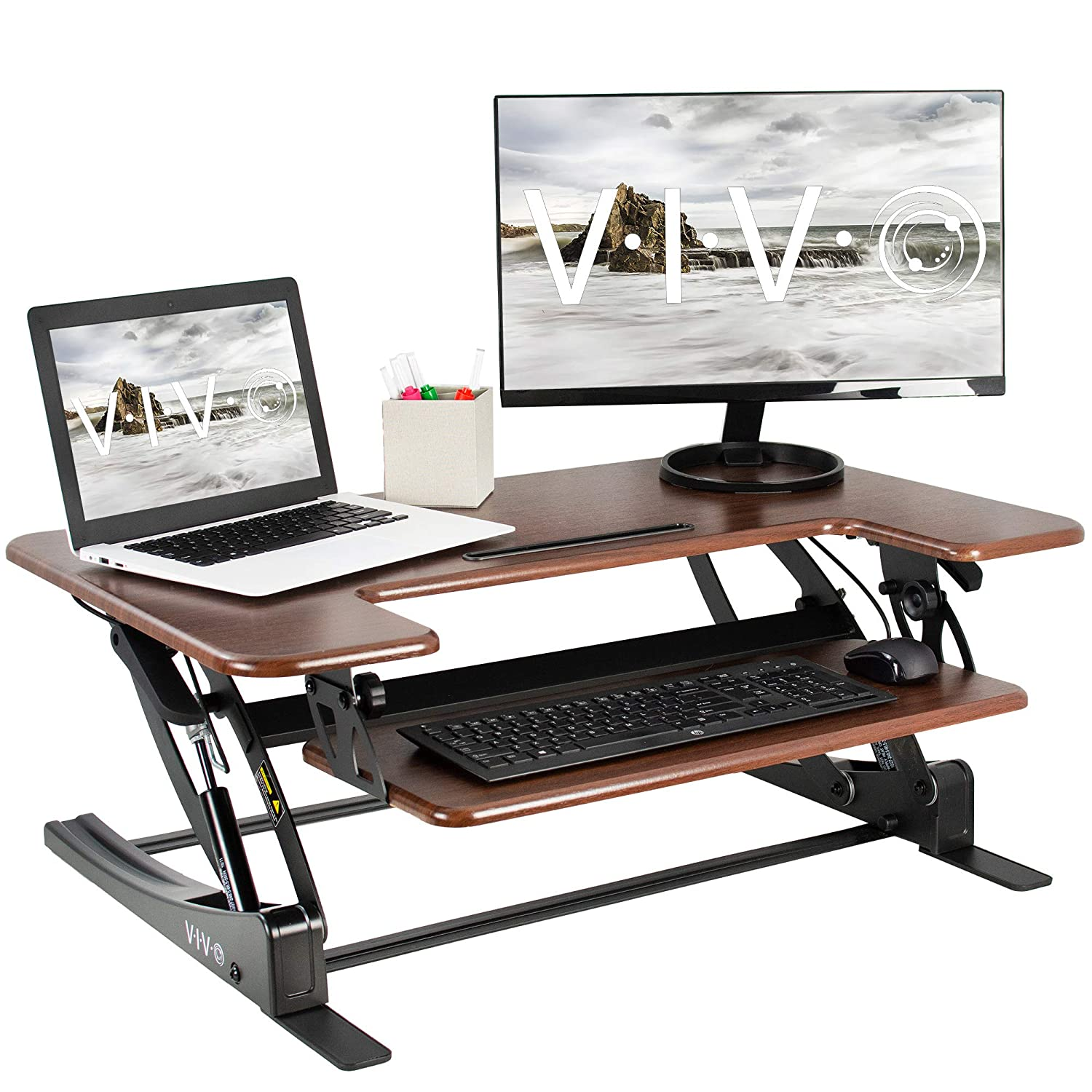 VIVO Dark Wood Height Adjustable 36 inch Stand Up Desk Converter | Quick Sit to Stand Tabletop Dual Monitor Riser Workstation (DESK-V000VD)