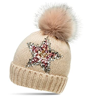 816001e1459 CASPAR MU161 Women Knitted Winter Bobble Hat with Glitter Sequin Star and  Large Faux Fur Pom Pom
