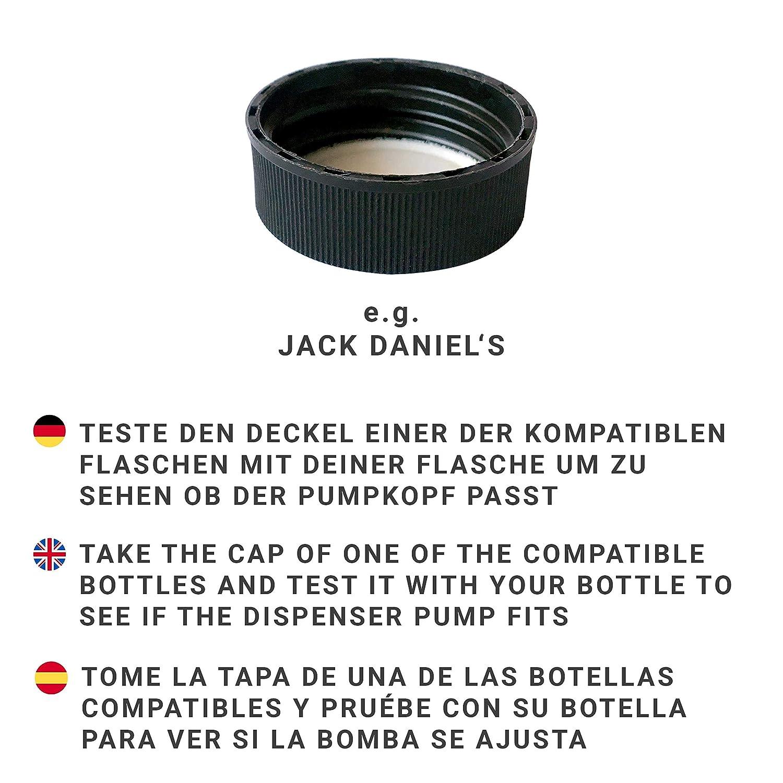 Monkey 47 z.B. Jack Daniels, Lemon Aid Pompetta in vetro Zagreb Schwarz mit Kupfer /Öl-schliff Dispenser di sapone in acciaio inox per bottiglie Lemon Aid Hendricks ad esempio Jack Daniels Acciaio INOX 28mm Gewinde