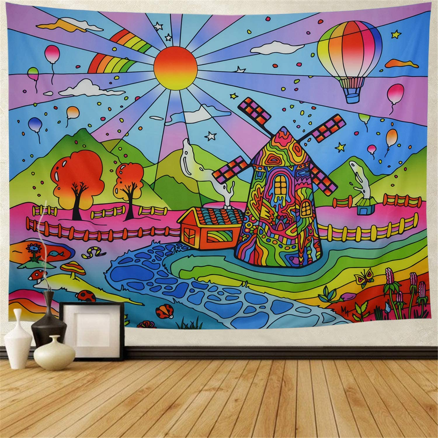 Galoker Trippy Tapestry Fairy Tale Tapestry Fantasy Cartoon World Tapestry Psychedelic Sun Tapestry Abstract Windmill Tapestry Wall Hanging for Kids Cartoon Themed Room Decor(H59.1×W78.7 inches)