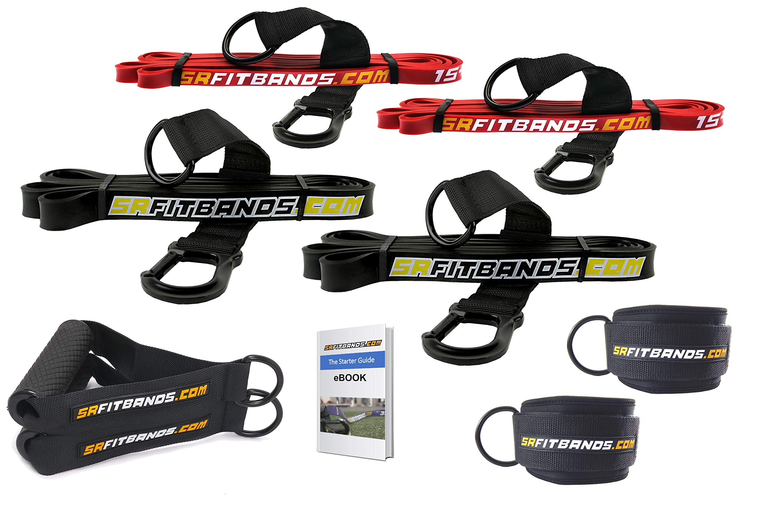 Resistance Band Starter Kit   with 4 SR Fit Resistance Bands, 2 Ankle Cuffs and 2 Handles   The Athlete Resistance Band Kit for Teams, Bodybuilding, Powerlifting, Crossfit, Home Gyms, and Home Workout
