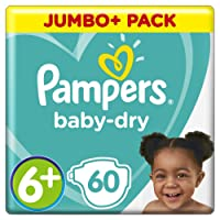Pampers Baby-Dry Air Channels For Breathable Dryness Overnight, 60 Nappies, 14+ kg, Size 6+