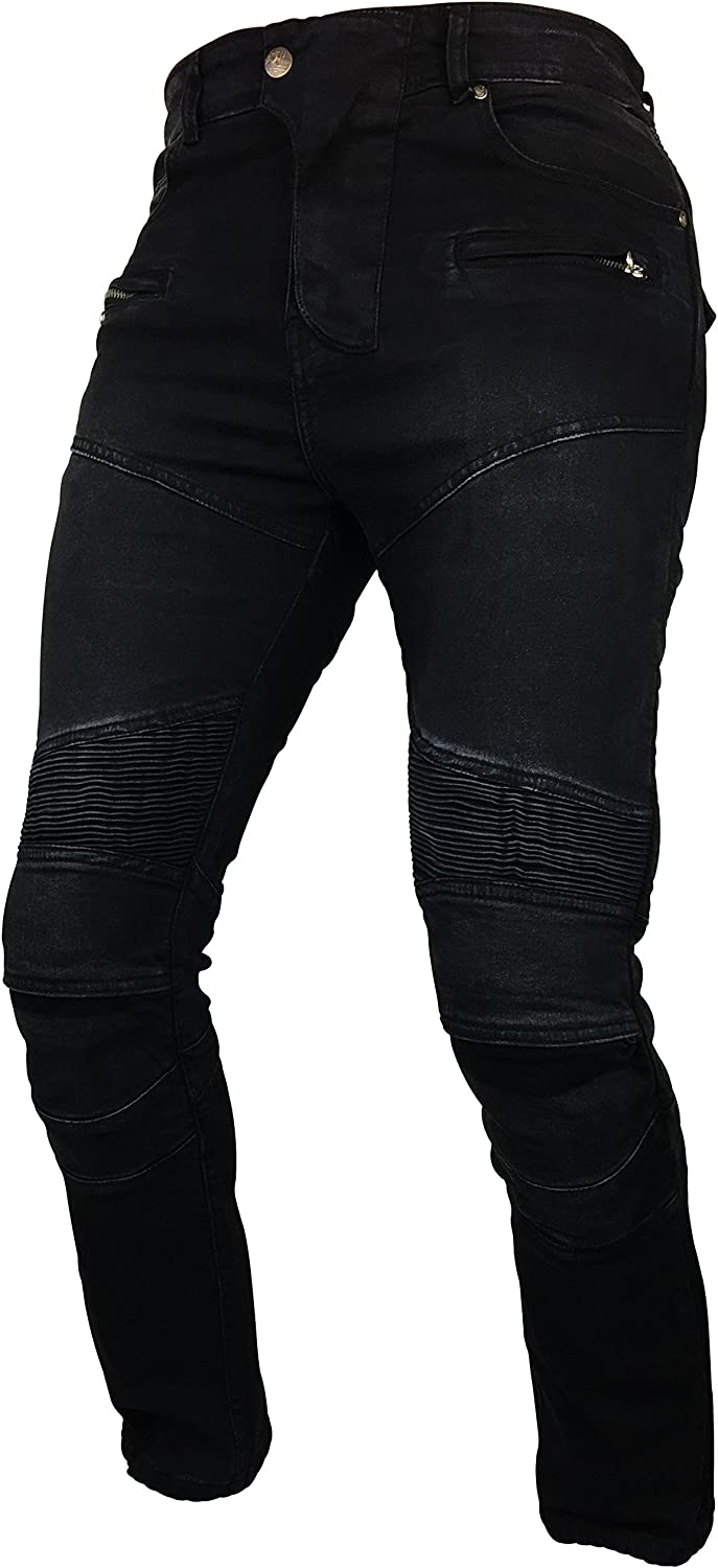 EVOQE Gladiax Motorcycle Jeans Armoured Mens Fully Lined Motorbike Trousers Men Aramid Protective Lining Armour CE Black