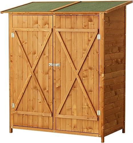 Mueble armario de herramientas de jardín para almacenar los utensilios de exterior, madera maciza 54: Amazon.es: Jardín