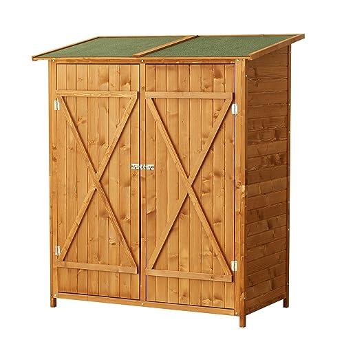 Homcom Armoire de jardin abri de jardin remise pour outils 140L x 75l x 165H cm 2 portes verrou 2 étagères toit bitumé étanche bois pin pré-huilé