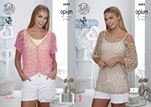 King Cole Womens Opium Crochet Pattern Ladies Mesh Wide Necked Tunic & V Neck Top (4495)