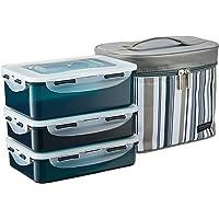 Lock & Lock Classic Rect Lunch Box 3 Pcs Set With Grey Stripe Bag, Grey