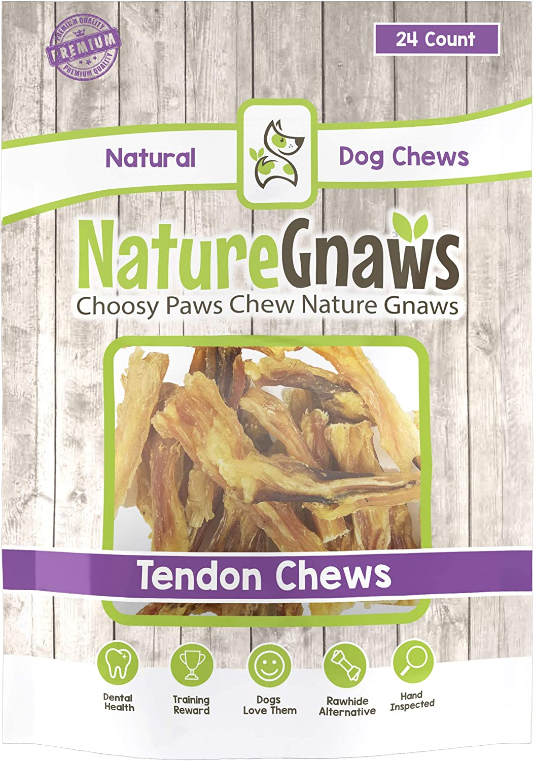 Nature Gnaws Tendon Bites 2-4 24 Count – 100 Natural Beef Chews for Small Dogs