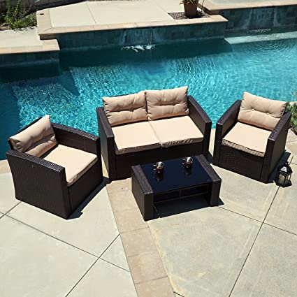 Belleze 4pc Wicker Outdoor Deep Seating Patio Set Furniture Cushioned Seats  UV Water Resistant with Table - Amazon.com : Belleze 4pc Wicker Outdoor Deep Seating Patio Set