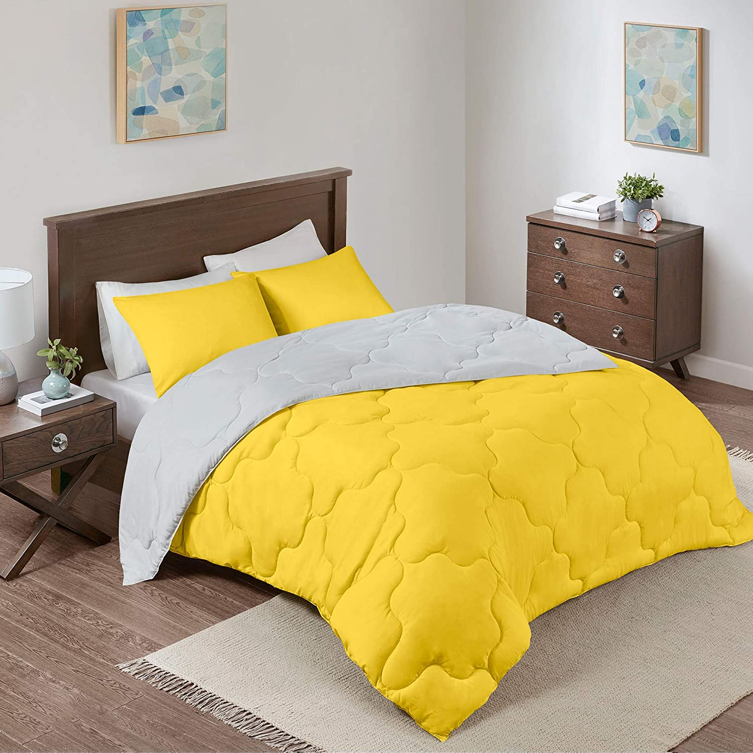 Comfort Spaces – Vixie Reversible Goose Down Alternative Comforter Mini Set - 3 Piece – Yellow and Grey – Stitched Geometrical Patter
