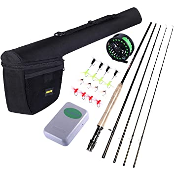 PLUSINNO Lightweight Ultra Portable Fly Fishing Rod Graphite Pole with  30-ton Toray Carbon Fiber Blanks and Chromed Stainless Steel Snake Guides
