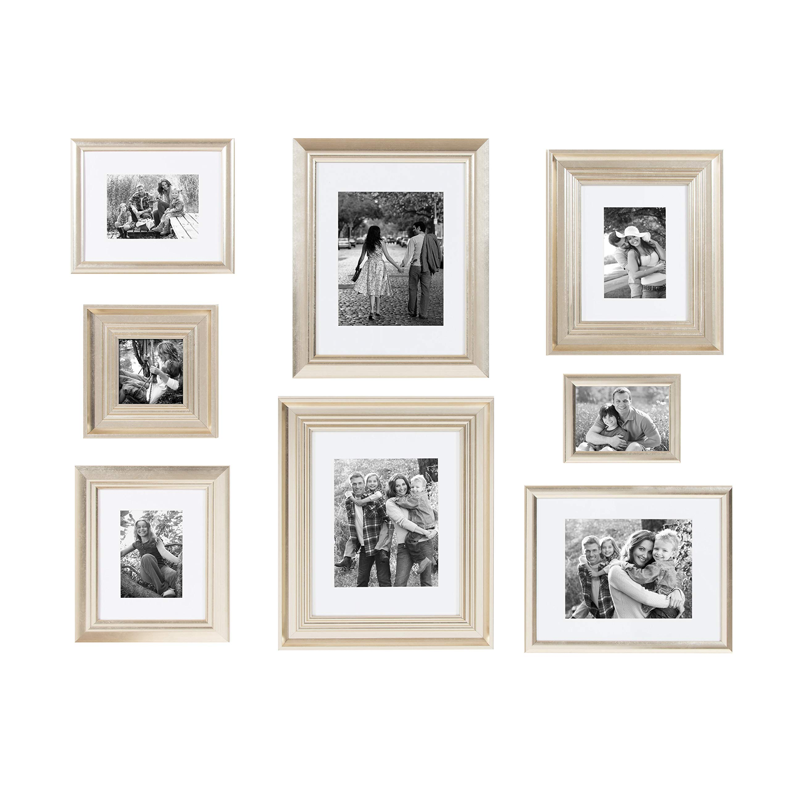 Kate and Laurel Odessa Gallery Wall 8 Piece Frame Set with Assorted Size Frames, Champagne Gold by Kate and Laurel