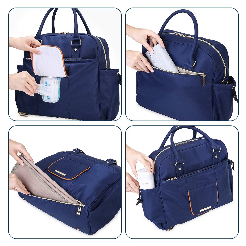 MOMMORE Wickeltasche mit Wickelunterlage Multifunktionale Mama Handtasche mit 17 Taschen