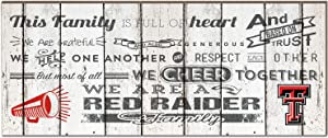 """KH Sports Fan 18""""x7"""" Texas Tech Red Raiders Family Cheer Small Weathered Collage Plaque"""