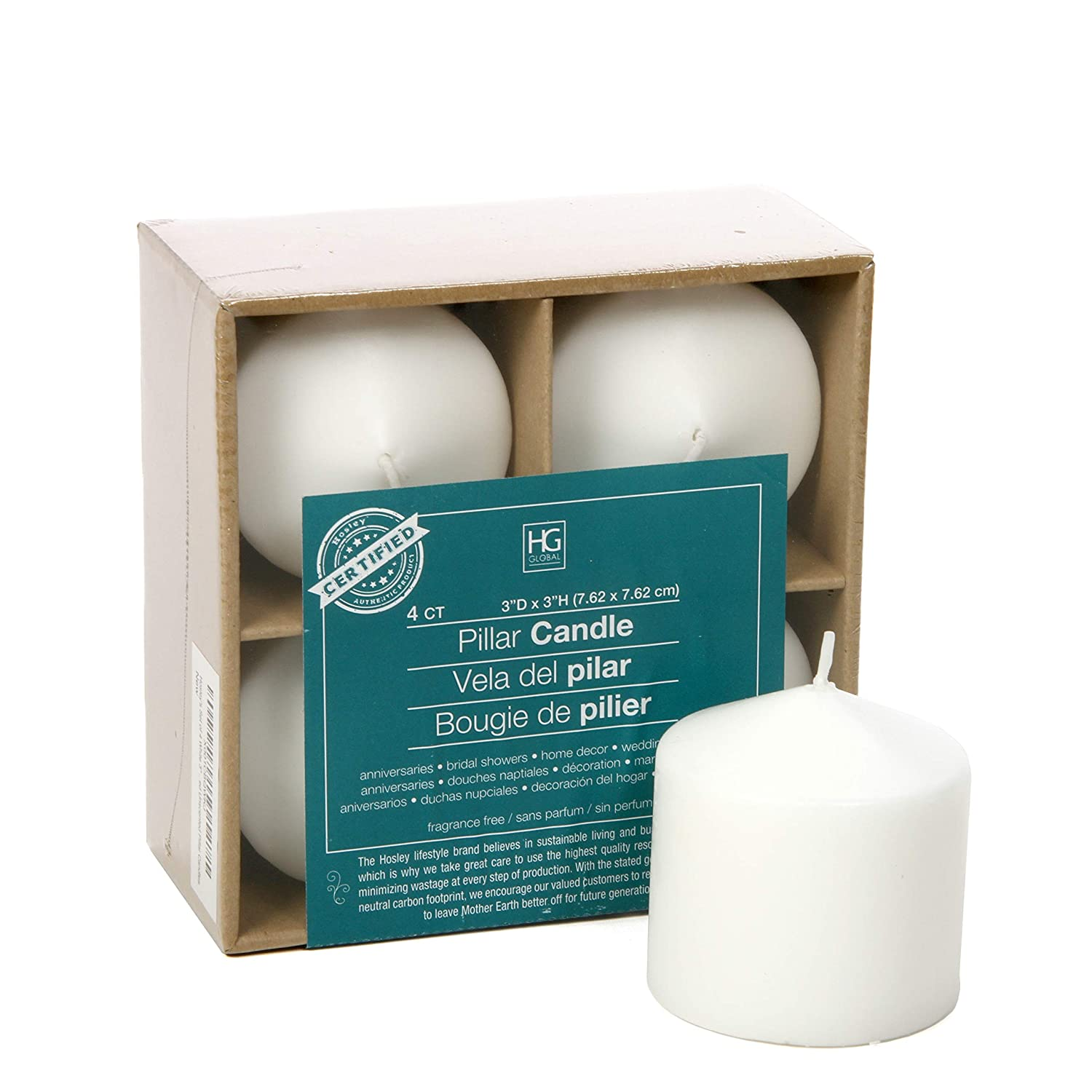 Hosley 3x3 High White Pillar Candles, Set of 4. Unscented. Bulk Buy, Using a Wax Blend. Ideal for Wedding, Birthday Emergency Lanterns, Spa, Aromatherapy, Party, Reiki, Candle Gardens O3 HG Global FBA-G08899ON-1-EA