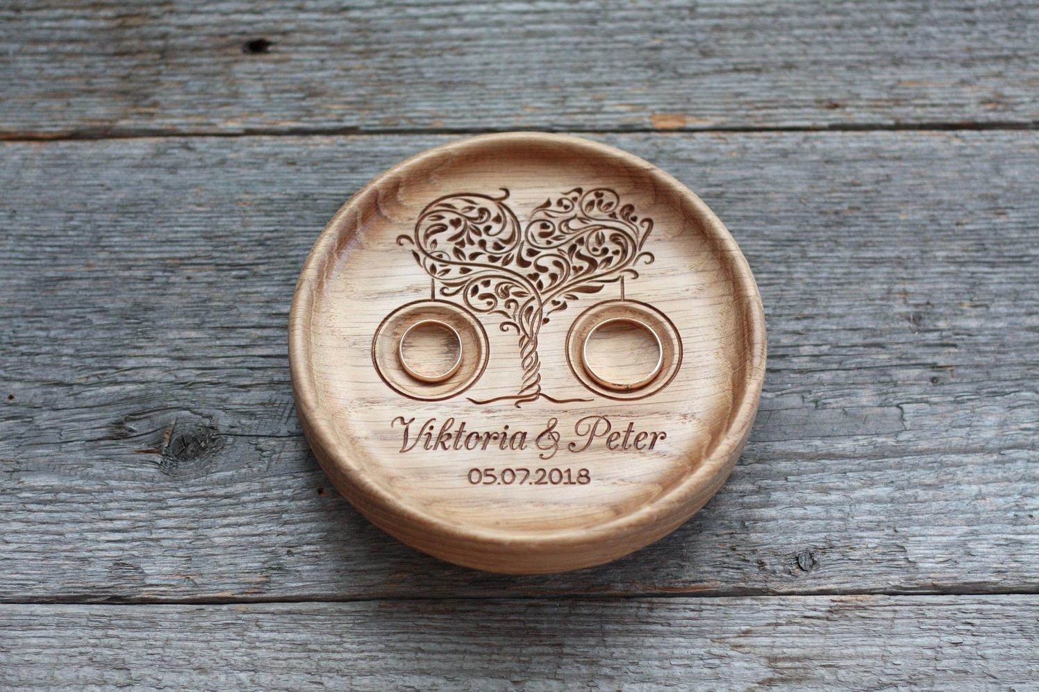 Anillo de bodas con nombres grabados y fecha, Caja para alianzas, Almohada portador del anillo, Caja de anillo  Árbol de amor ,  Love tree   Love tree