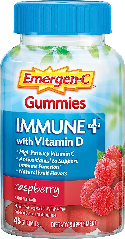 Emergen-C Immune+ Immune Gummies, Vitamin D Plus 750 mg Vitamin C, Immune Support Dietary Supplement, Caffeine Free, Gluten Free, Raspberry Flavor - 45 Count: Health & Personal Care