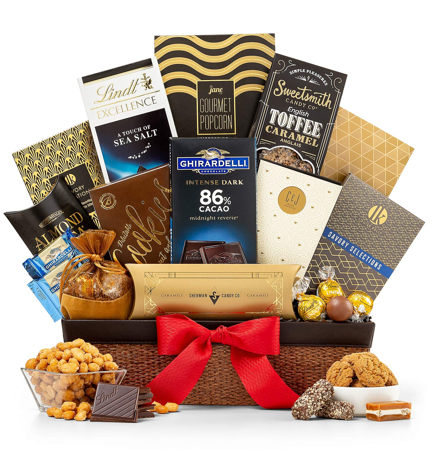GiftTree Encore Gourmet Gift Basket | Ghirardelli & Lindt Chocolates, English Toffee Caramels, White Cheddar Popcorn, Nuts & More | Perfect Present for Birthdays, Thank You, Business and Holidays by GiftTree