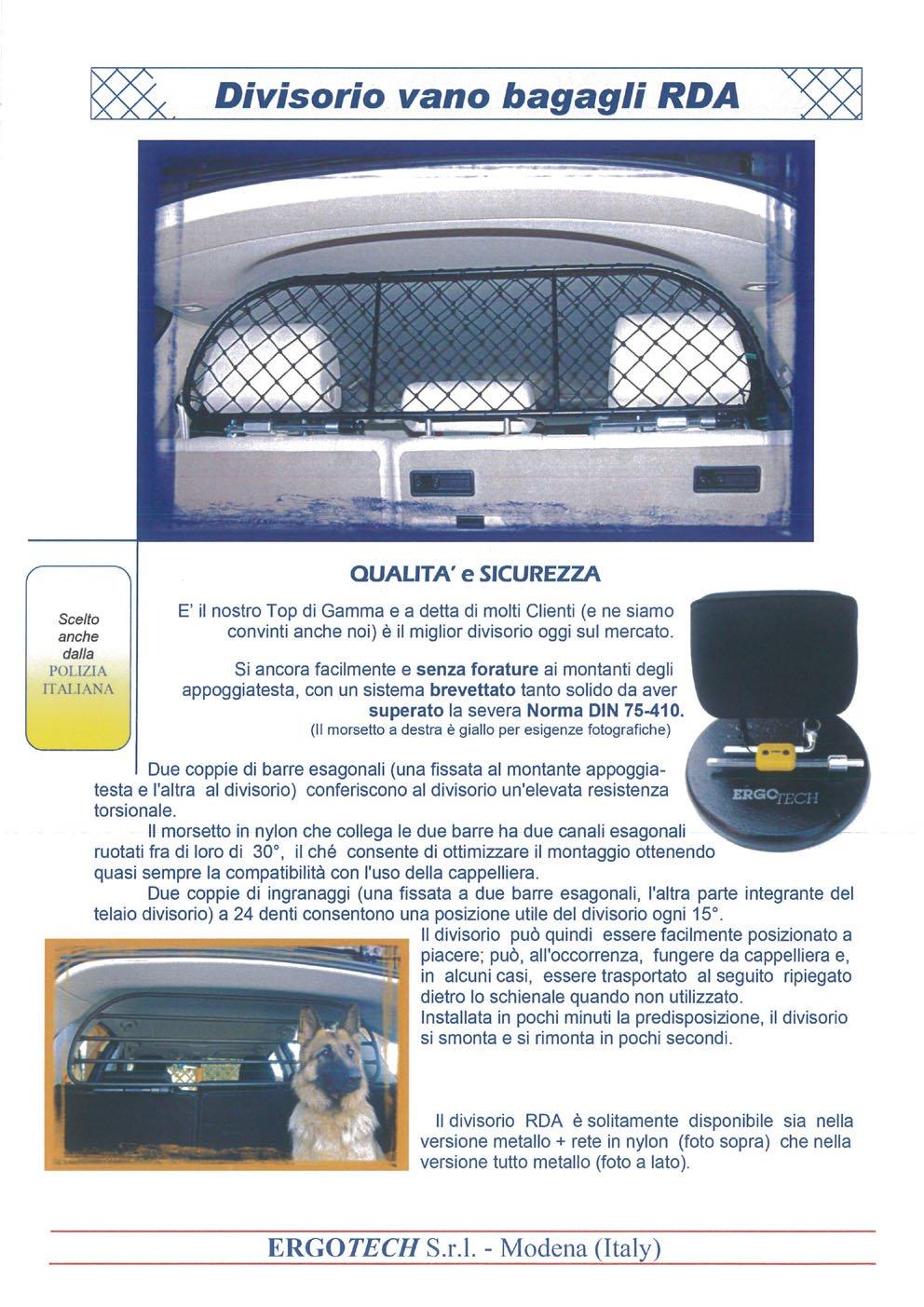 per trasporto cani e bagagli confortevole Divisorio Griglia Rete Divisoria Ergotech RDA65-S8 ksk016 garantito! Sicuro