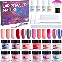 Dip Powder Nail Kit, Ohuhu 12 Colors Dipping Powder Nails Art Kit with Temperature Changing Color, Glitter, Florescent…