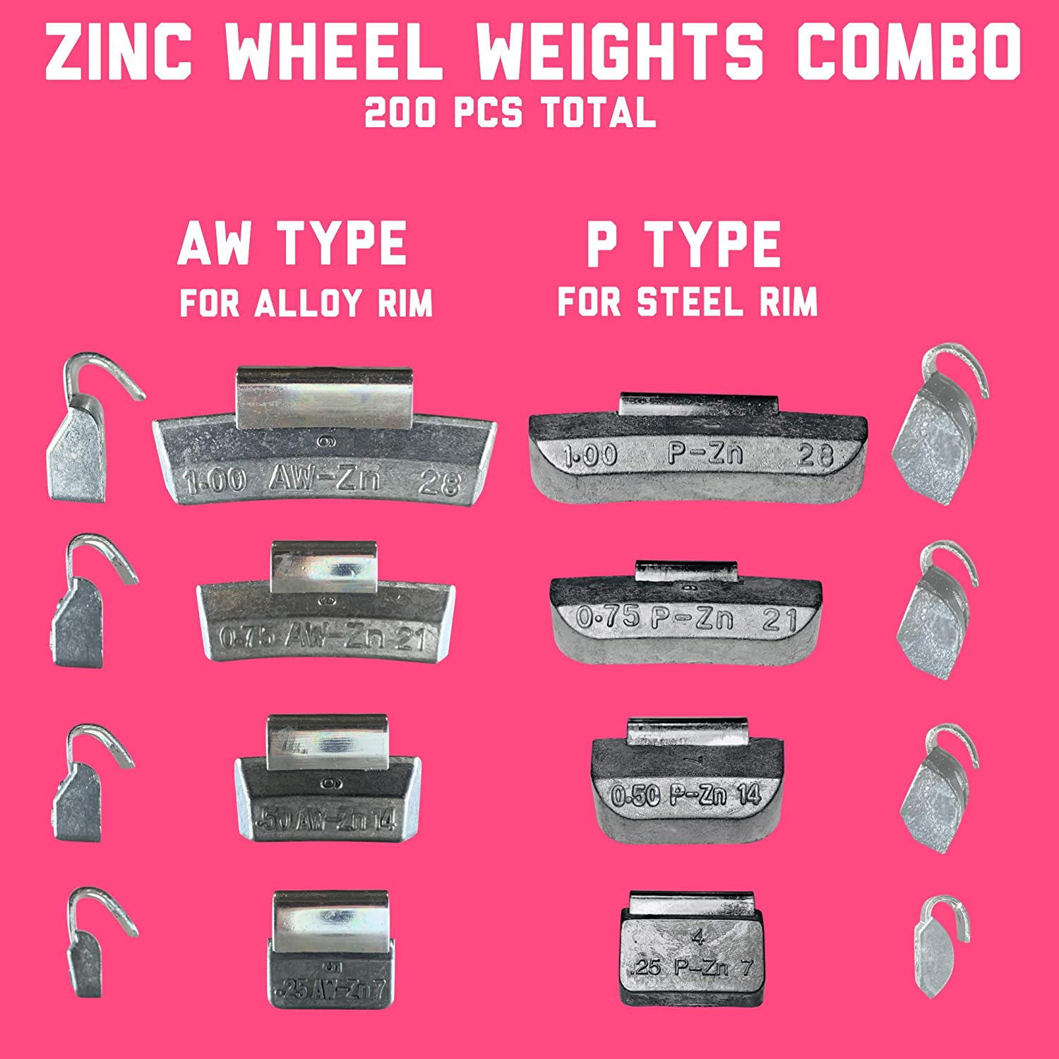 Gallardo Tire Products Combo of ZINC Clip on Wheel Weights 100 AW Type for Alloy Rims and 100 P Type for Steel Rims 200 Pcs Total