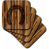 3dRose cst_25392_2 Branded Wood Print Horseshoe-Soft Coasters, Set of 8