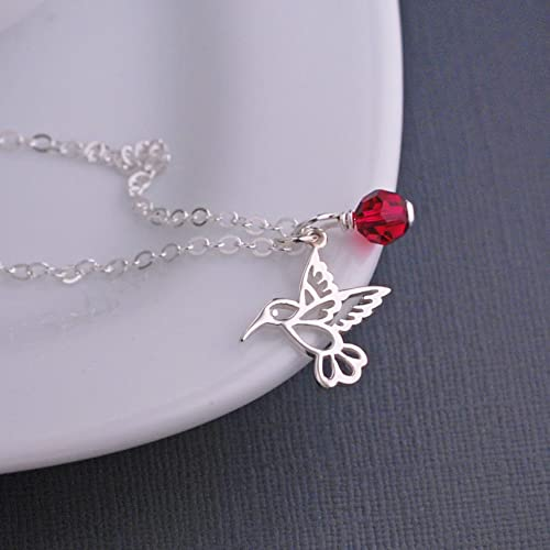678502834 Amazon.com: Sterling Silver Hummingbird Necklace with Red Swarovski ...