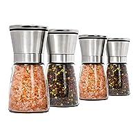 Home EC Premium - Juego de 4 molinos de sal y pimienta de acero inoxidable, 4 unidades, molinillo para sal marina y…