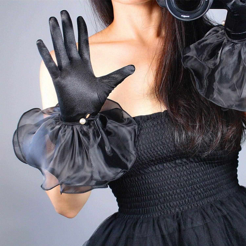 Women Satin Silk Gloves Wrist Short Stretchy Black Mesh Tulle Organza Ruffle Chiffons