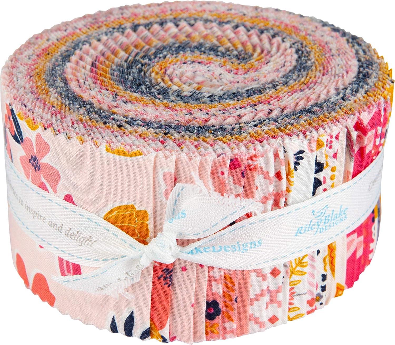 Gabrielle Neil Golden Aster Rolie Polie 40 2.5-inch Strips Jelly Roll Riley Blake Designs RP-9840-40