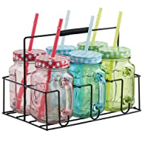 VonShef Mason Jar Set of 6 Coloured Glass Drinking Jars INCLUDES Carrier with Reusable Straws, Lids & Handles