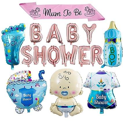 ZOEON Baby Shower Globos para Fiestas Infantiles, Globos de Papel de Aluminio Its a Boy/Girl con Faja Mum to Be (NIÑO)