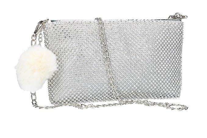 d8ecb27a00 MICHELLE MOON Borsetta donna pochette argento da cerimonia con strass  VN2360: Amazon.it: Abbigliamento