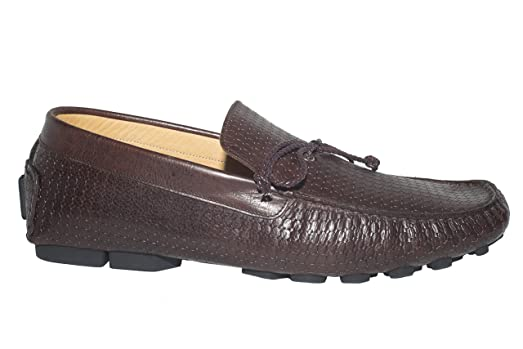 10014-01 Italian mens brown leather loafers with design