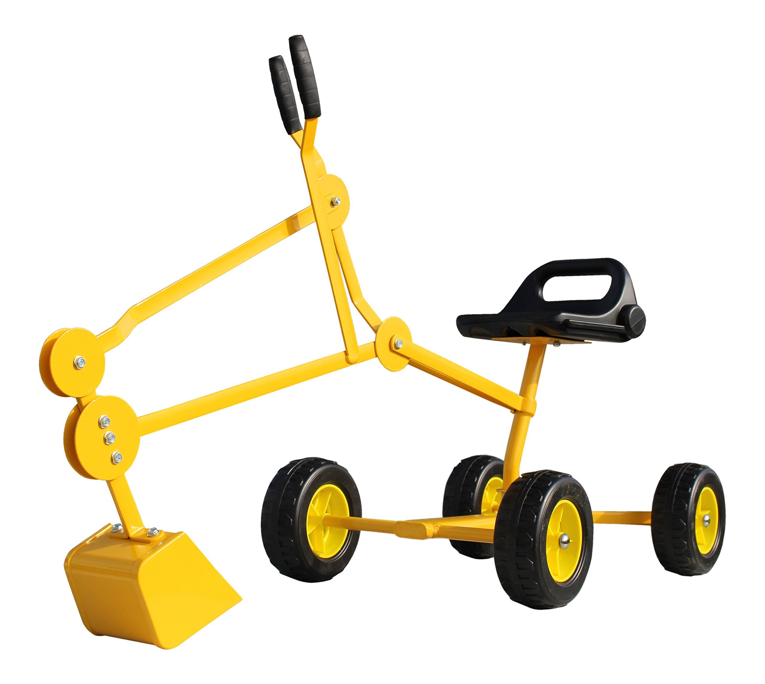 Childrensneeds.com Sand Digger Toy Backhoe with Wheels, A Toy Ride On Excavator for Ages 4-12 (Yellow) by Childrensneeds.com