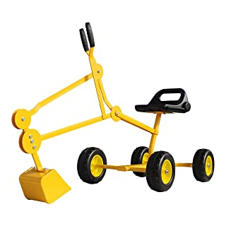 Childrensneeds.com Sand Digger Toy Backhoe with Wheels, A Toy Ride On Excavator for Ages 4-12 (Yellow)