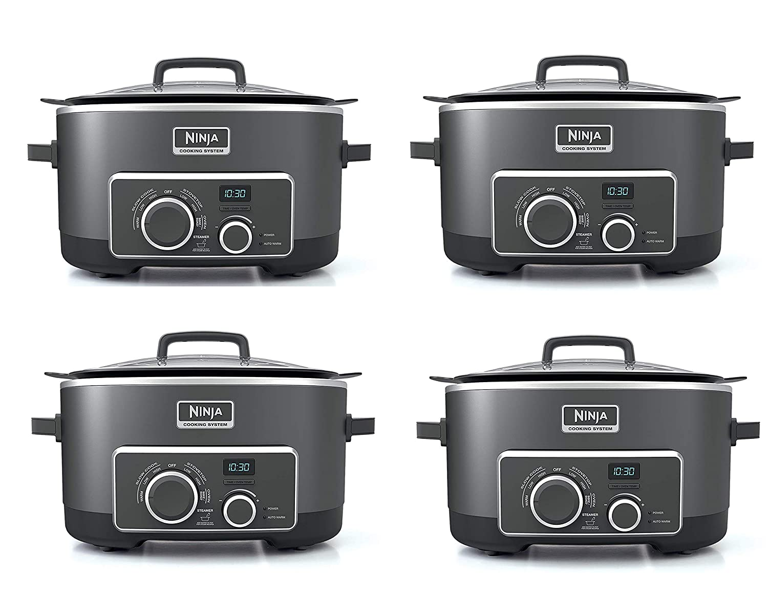 Ninja Multi-Cooker with 4-in-1 Stove Top, Oven, Steam and Slow Cooker Options, 6-Quart Nonstick Pot, and Steaming/Roasting Rack (MC950Z), Black (Fivе ...