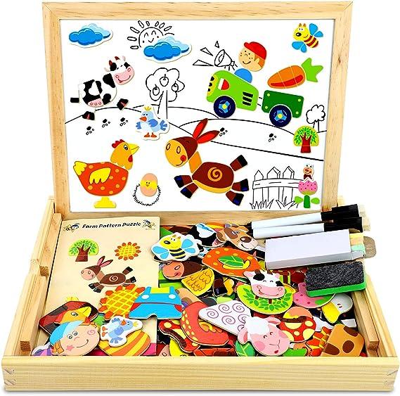 COOLJOY 100 PCS Puzzles de Madera Magnético, Puzzles Rompecabezas Magnéticos de Madera, Tablero de Dibujo de Doble Cara Juguete Educativo para Niños Niñas Mayores de 3 Años con Funda de Tiza: Amazon.es: