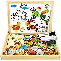 COOLJOY 100 PCS Puzzles de Madera Magnético, Puzzles Rompecabezas Magnéticos de Madera, Tablero de Dibujo de Doble Cara…