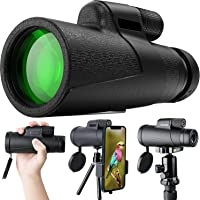 Qisebin Monoculars Telescope,High-Power Monoculars with Smartphone Holder and Tripod,Wild-Looking Birds,Foraging…