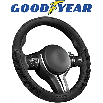 """Goodyear GY1351 Black Rubber Grip Performance Steering Wheel Cover Non-Slip High Universal Fit 14.5""""-15.5"""" Sport Design: Automotive"""