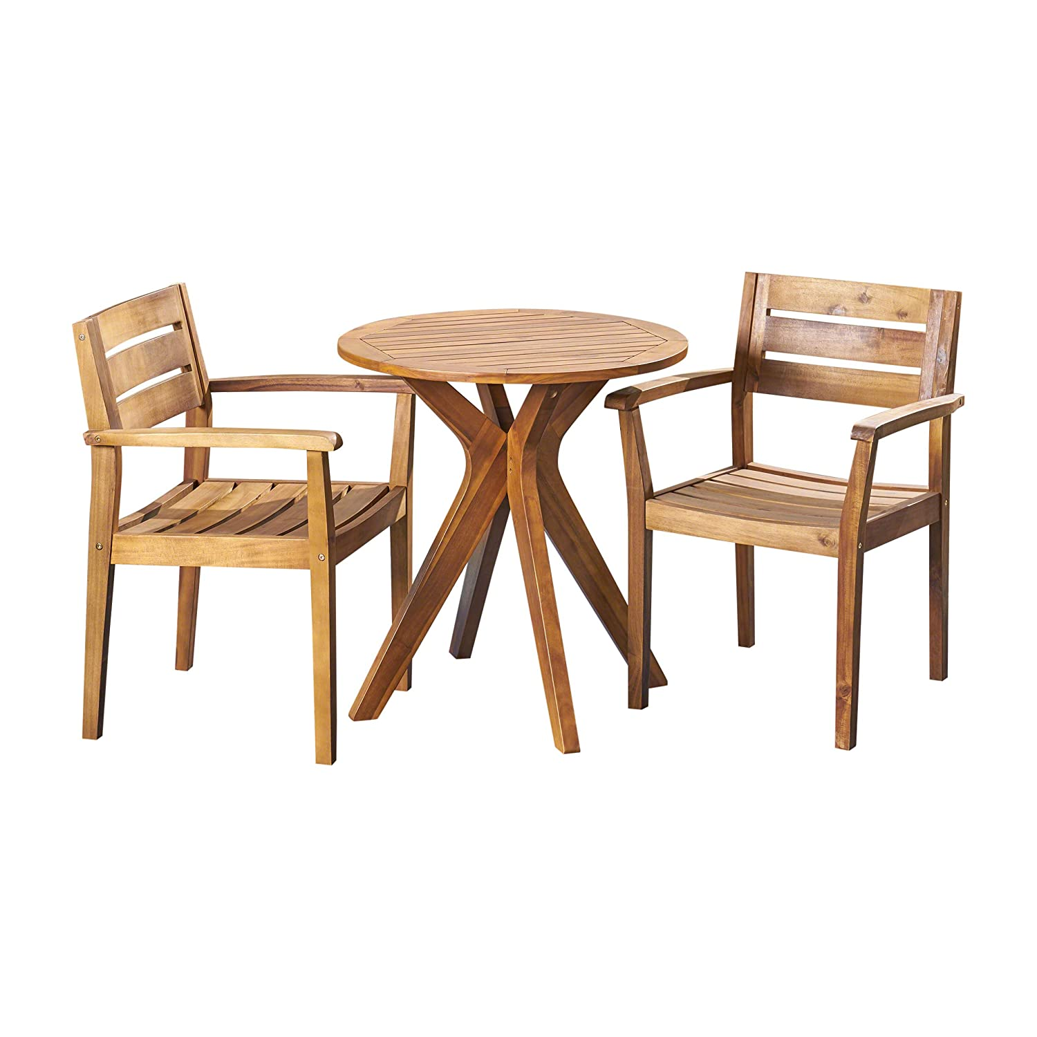 Amazon com great deal furniture addison outdoor 3 piece acacia wood bistro set teak garden outdoor