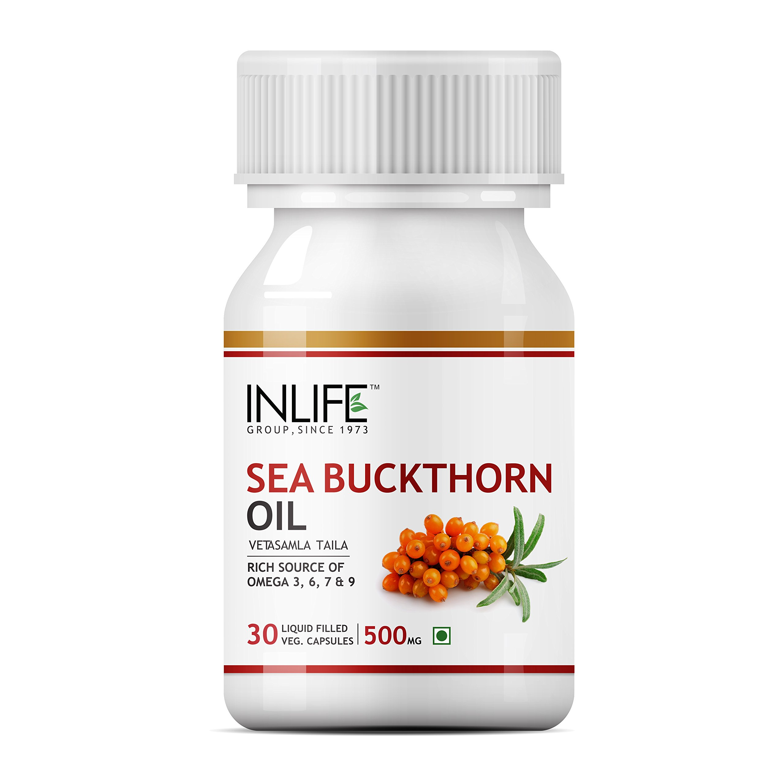 Inlife Sea Buckthorn Seed Oil 500mg Omega 3 6 7 9 30 Vegetarian