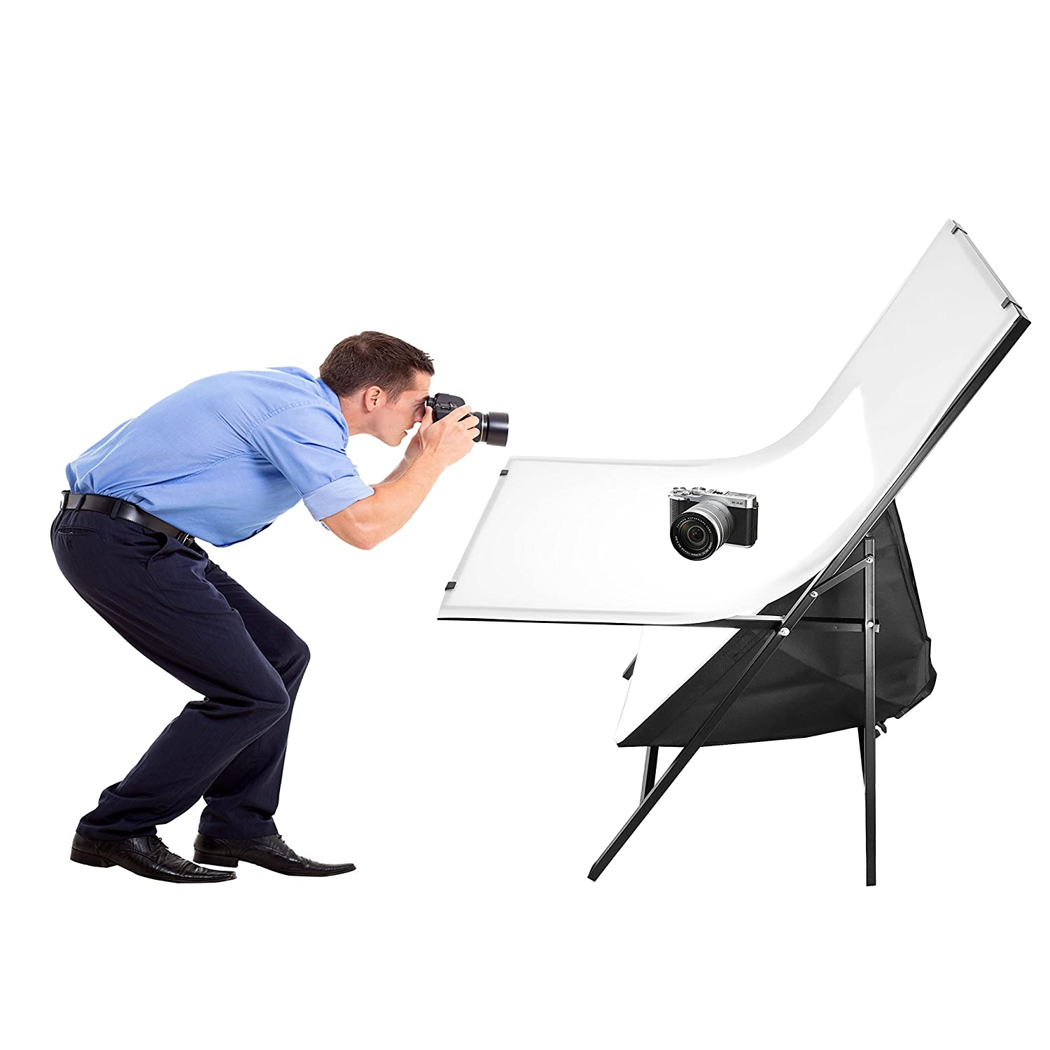 Foto&Tech Portable Non-Reflective Still Life Shooting Metal Frame Foldable Table with 58cm x 98cm Pure White Plexiglass Panel Cover Photo Studio Bench Easy Set Up without tools STUDIO TABLE