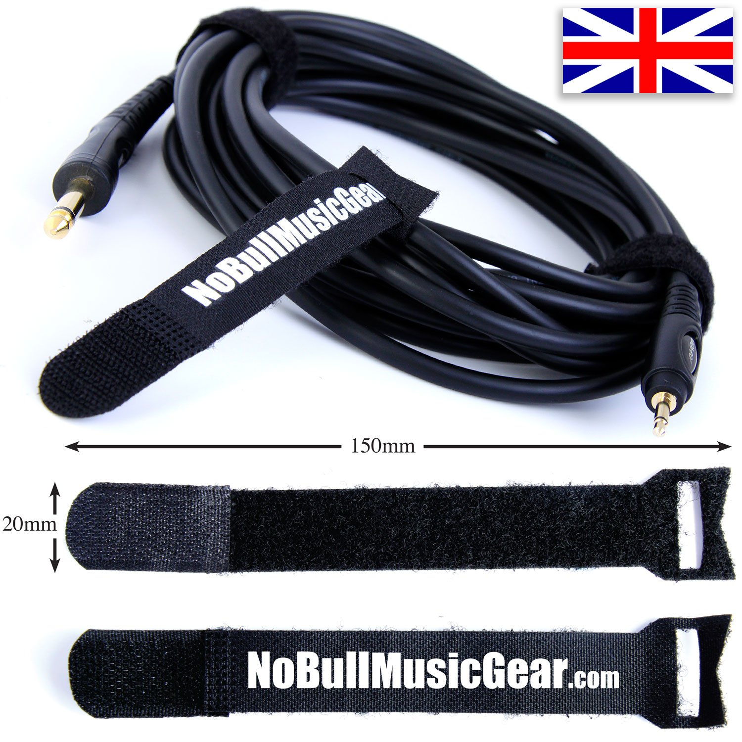 Cable Ties/Straps: Re-usable & Adjustable Hook & Loop Cable Tidy No Bull Music Gear