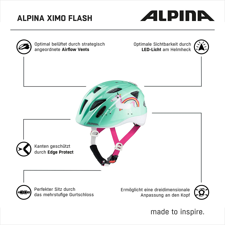 Unicorn Gloss ALPINA XIMO Flash Casque Unisex-Youth 47-51 cm