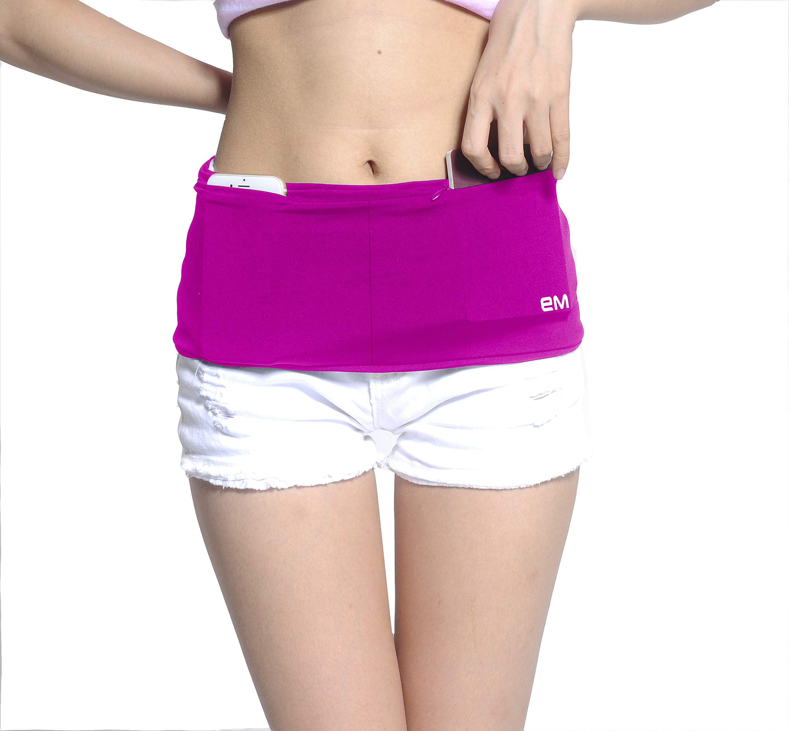 EAZYMATE Fashion Running Belt - Travel Money Belt with Zipper Pockets Fit All Smartphones and Passport Rose Red - M by EAZYMATE